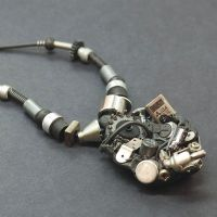 Silver and Black Industrial Necklace by Tanith-Rohe