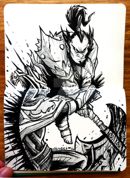 AXE - INKtober day #4 by Abyssmosis