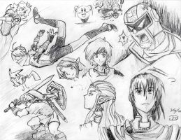 SSB Characters Sketch by Rachet777
