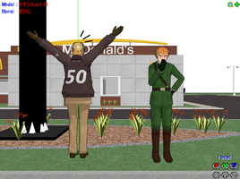 Hetalia/MMD- America at McDonalds by MoonStar34
