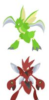 Scyther and Scizor by Nortiker