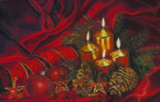 Xmas Still Life in soft pastel by LuthienneTinuvielle