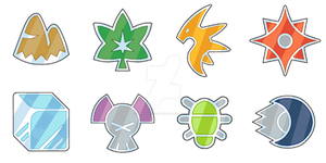 Myoto Gym Badges by Saiph-Charon