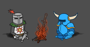 Dark Souls and Shovel Knight by KarolG66