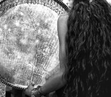 Amazing detail of a girl, her hair and a drum by TanBekdemir