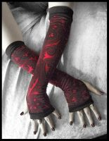 Crimson Bohemian Arm Warmers by ZenAndCoffee