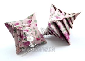 Powder Pink Origami Earrings :MADE TO ORDER: by MaGeXP