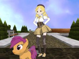 Mami and Scootaloo by Solomen