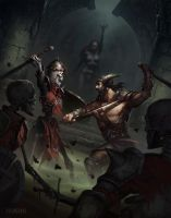 A little dungeon scuffle by pindurski