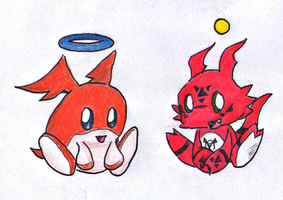 Guilmon Chao and Patamon Chao by Reallyfaster