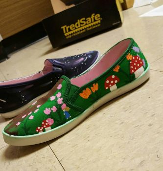 Customised Shoes, Green Left Side View by CaelansFolly1992
