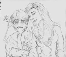 Cissa and Draco sketchie X3 by AmberPalette