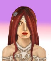 Red-Haired Half Elf Lady by moonlightflower99