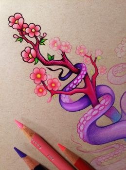 Tentacles and Cherry Blossoms - WIP by dannii-jo