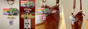 Springtime Nyan Cat Dangly Keychain :D by emietheemerald