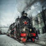 steam locomotive at Riga station by fly10