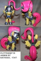 Fluttershy in Crystal Empire Jousting Armor by batosan