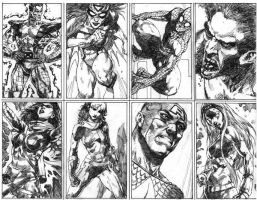 marvel cards,line drawing by acts2028
