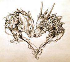 Dragon And Wolf Tattoo Design by Lucky978