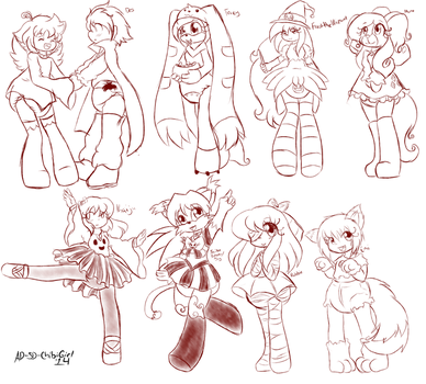 LSR: Halloween Sketches by AD-SD-ChibiGirl