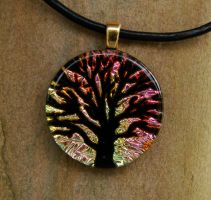 Pink Sunset Tree of Life Glass by FusedElegance