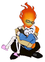 [PC] Sansby cuddles by DesDraws