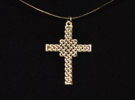 Celtic Knot Cross Necklace Silver 30mm by dfoley75