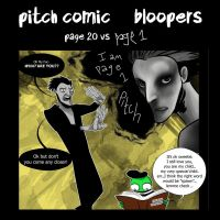 Pitch Comic Bloopers page 20 vs page 1 by frogsfortea