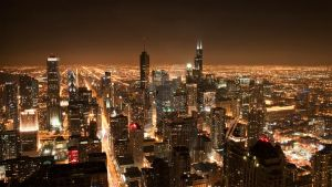 Downtown Chicago at night by calvinsc