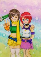 KH-FF7: Yuffie and Kairi by dagga19 by dagga19