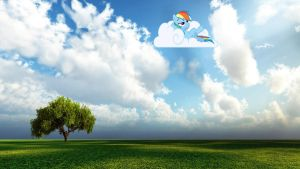 Rainbow Dash on a cloud by SkiddleZIzKewl