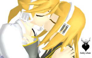 Rin and Len kissu MMD by Anky-Chan