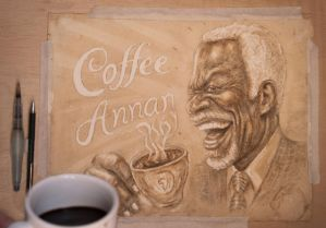 Coffee Annan painted with... coffee! by Caricatureart