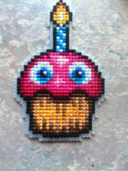 Five Nights At Freddie's Cross stitched Cupcake by UnyieldingMadness