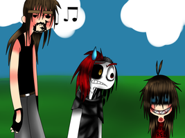 3 people waiting in a bad background by freaky4manga