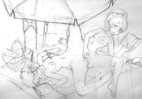 Old Erica+Monica WIP Sample Sketch by phaichi