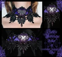 Gothic Burlesque choker v1 by redLillith