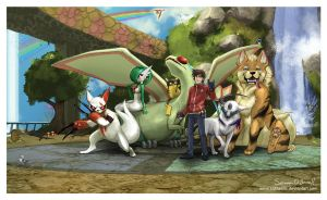 Let's Beat the Elite Four - Pokemon Commission by Sabtastic