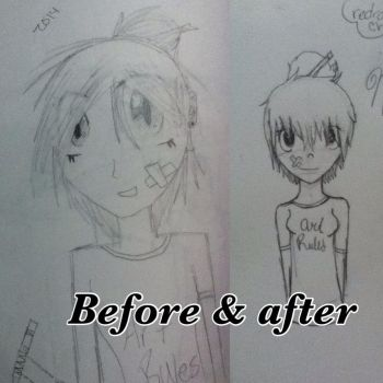 Before and after of my oc: Naomi by i-rainbow-skittles
