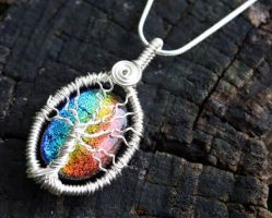 Rainbow Glass Tree of Life by Create-A-Pendant
