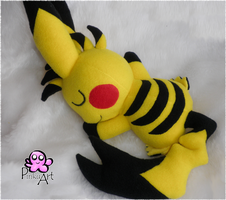 Custom cuddling Pikachu by PinkuArt