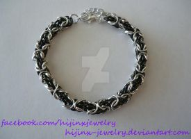 Silver and Black Chainmaille Tryzantine Bracelet by Hijinx-Jewelry