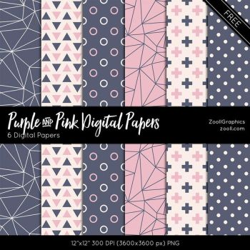 Purple And Pink Digital Papers by MysticEmma
