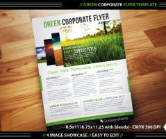 Green Corporate Flyer Template by deiby