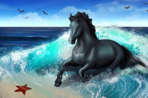 Horse in the sea - finished by Noekkvadis