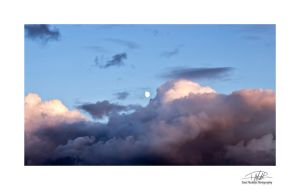 Moon and clouds - 16-9 ratio - with border and sig by Paul-Madden
