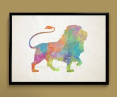 lion watercolor print by ColourInk