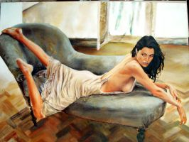 Angelina Jolie on couch by soleilmarla
