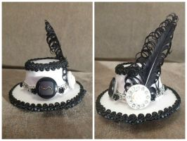 White + Black Mini Hat Hair Clip by AbsolutelyFascinated