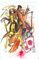 Watercolor - Rogue_Gambit by RobDuenas